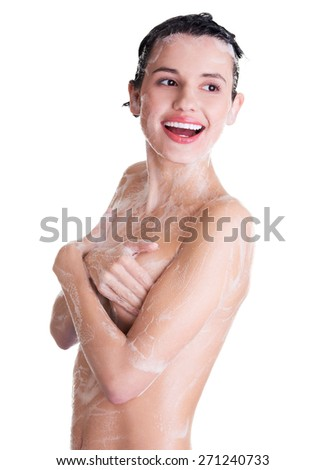 Portrait of young sexy woman with soap foam. - stock photo