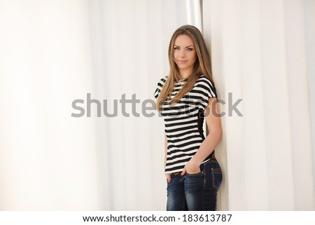 Portrait Of Young Smiling Beautiful Woman outdoors - stock photo