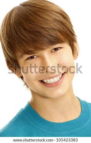 Portrait of young smiling boy - stock photo