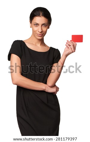 Portrait of young smiling business woman holding credit card isolated on white background - stock photo