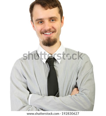 portrait of young smiling businessman  in a white background - stock photo