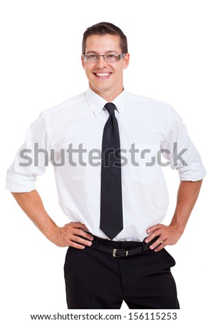portrait of young smiling businessman isolated on white - stock photo