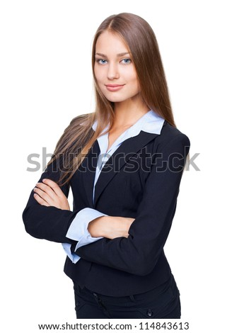 Portrait of young smiling businesswoman standing with hands folded against isolated on white background - stock photo