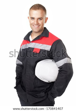 Portrait of young smiling engineer holding white helmet isolated on white background - stock photo