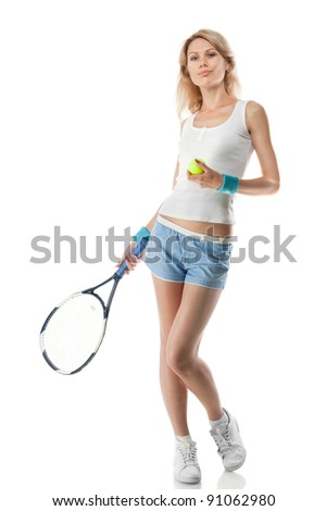 Portrait of young smiling woman with tennis racket isolated on white - stock photo