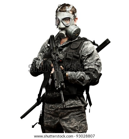 portrait of young soldier with gas mask and rifle against a white background - stock photo