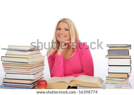 portrait of young student girl with lots of books  studing for exams. isolated on white background - stock photo