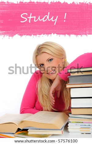 portrait of young student woman with lots of books  studing for exams - stock photo