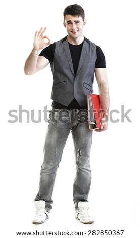 Portrait of young successful happy male student. Isolated on white background. - stock photo