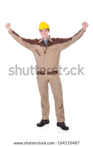 Portrait Of Young Successful Mechanic With Hand Extended - stock photo