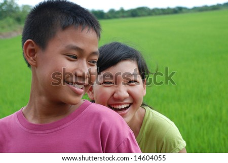 Portrait of young teens - stock photo