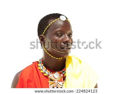 Portrait of young warrior massai man isolated on white background - stock photo
