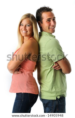 Portrait of young woman and man smiling isolated over a white background - stock photo