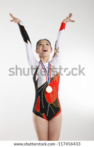Portrait of young woman athlete - stock photo