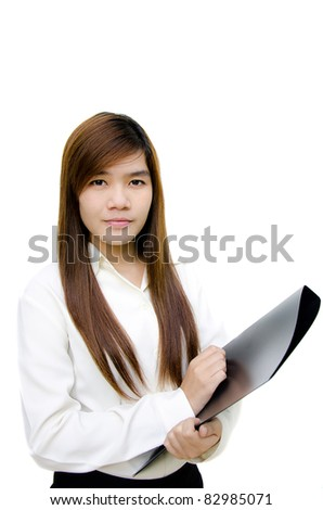 Portrait of young woman business have report on hand isolated on white background. - stock photo