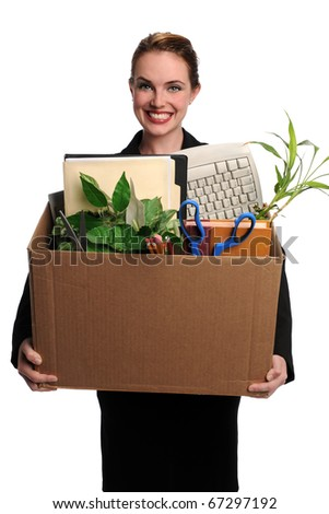Portrait of young woman carrying office supplies in cardboard box isolated over white background - stock photo