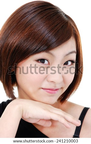 Portrait of young woman face smile expression - stock photo