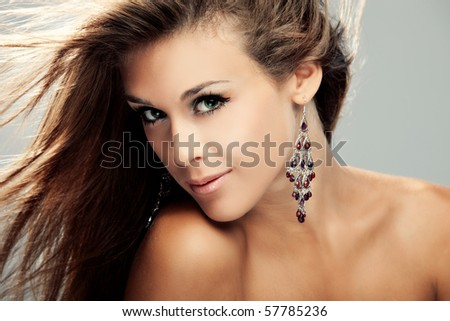 portrait of young woman, hair fly - stock photo