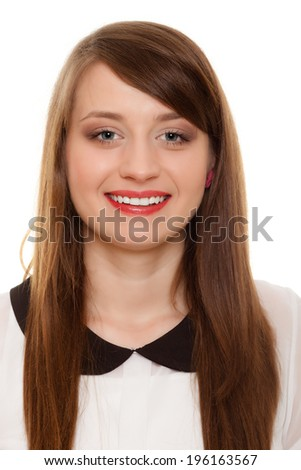 Portrait of young woman in black collar isolated on white. Face of happy girl college student or businesswoman. - stock photo