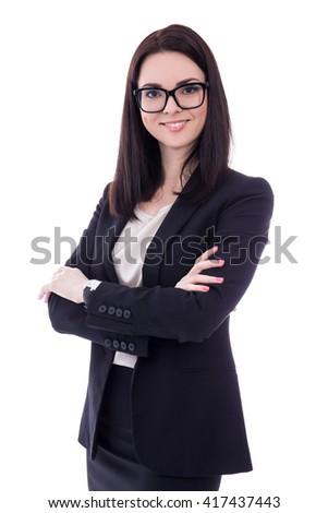 portrait of young woman in business suit isolated on white background - stock photo