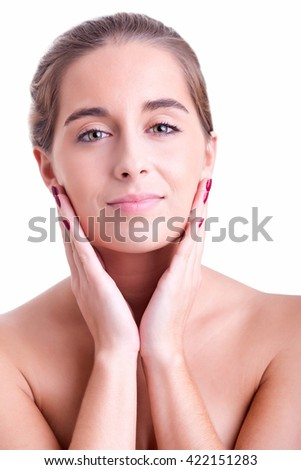 Portrait of young woman isolated on white background - stock photo