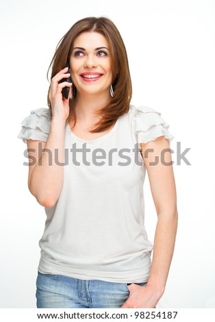 Portrait of young woman on phone call over white background - stock photo