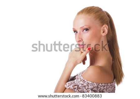 Portrait of young woman with long blonde hair thinking - stock photo