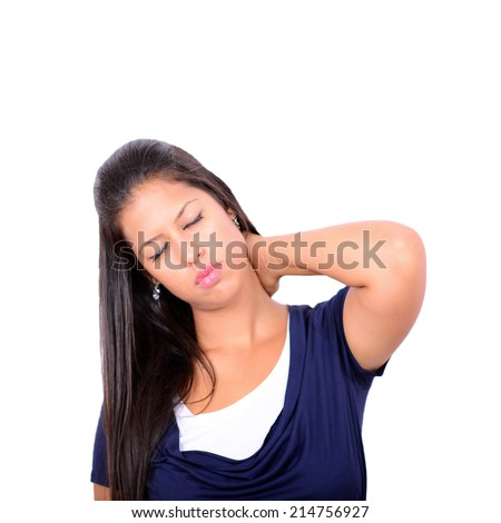 Portrait of young woman with neck pain isolated on white - stock photo
