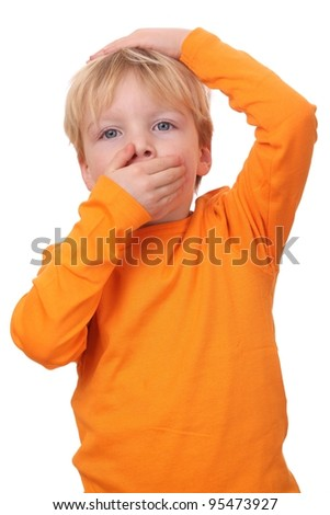 Portrait on a frightened young boy isolated on white background - stock photo