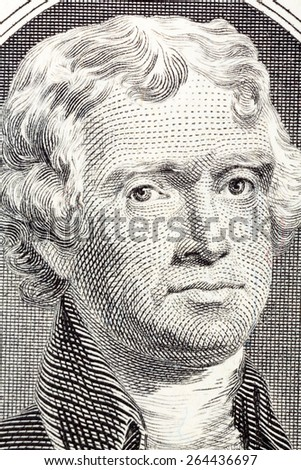 Portrait on macro of Thomas Jefferson from the two dollar bill. - stock photo