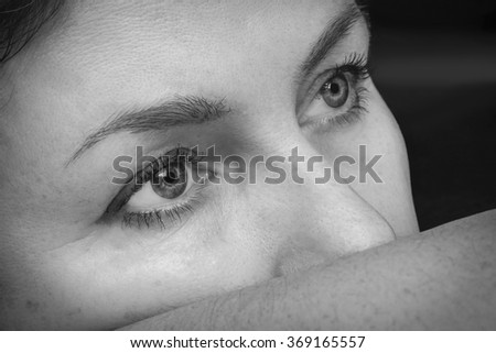 portrait pensive middle aged woman closeup. Black and white   - stock photo