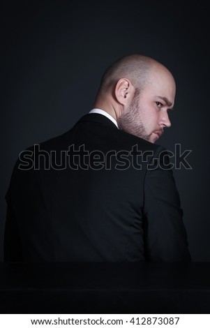 Portrait pensive stylish and brutal bald man with a beard - stock photo