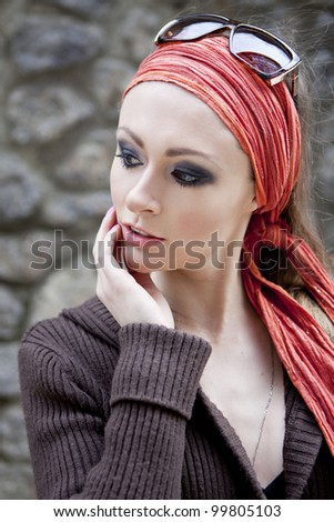 Portrait Ponderer woman on the street in the city - stock photo