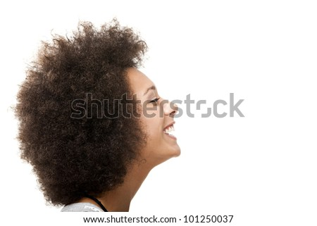 Portrait profile of a beautiful african american young woman - stock photo