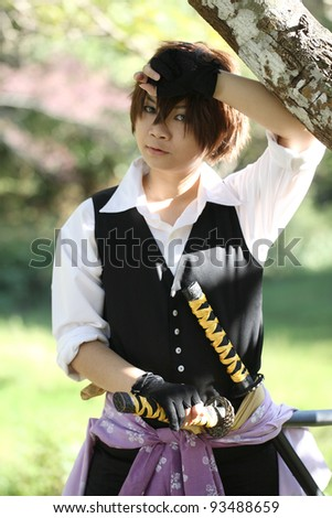 Portrait samurai girl - stock photo