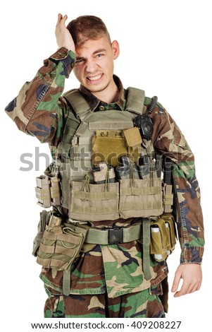 Portrait soldier or private military contractor gesturing with surprise. war, army, weapon, technology and people concept. Image on a black background. - stock photo