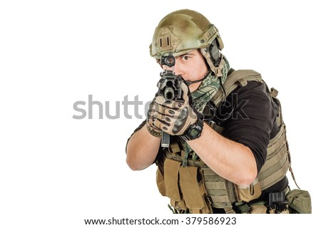 Portrait soldier or private military contractor holding sniper rifle and aiming. war, army and people concept. image isolated on a white background. - stock photo