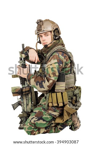 Portrait soldier or private military contractor. war, army, weapon, technology and people concept. Image on a white background. - stock photo
