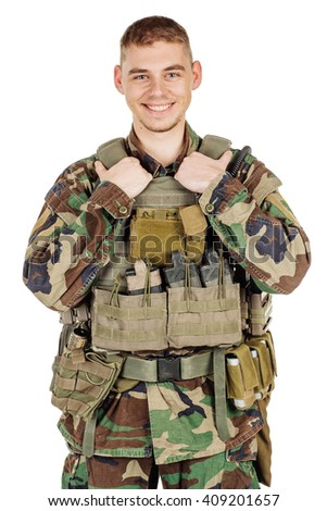 Portrait soldier or private military contractor. war, army, weapon, technology and people concept. Image on a black background. - stock photo