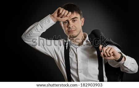 portrait  the  beautiful  businessman careerist in white  shirt without necktie - stock photo