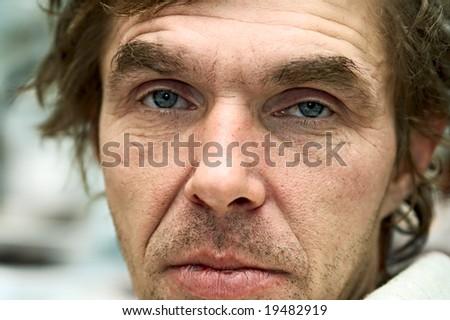 portrait unshaven drunk men - stock photo