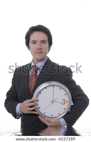 portrait with a clock isolated on white... - stock photo