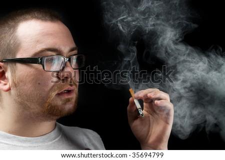 Portrait with cigarette - stock photo