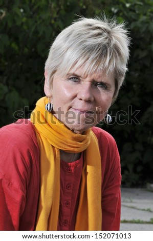 portrait with scarf - stock photo