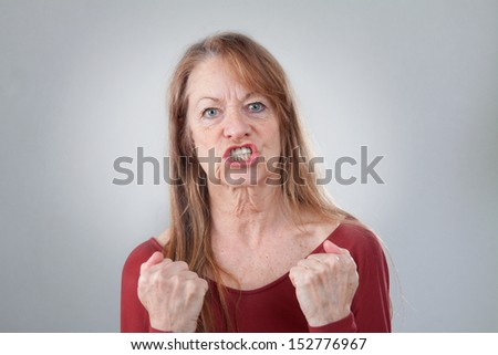 Portrait  woman very angry - stock photo