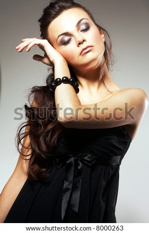 Portrait - Woman with Long Brown Hair - stock photo