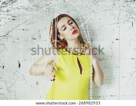 Portrait young beautiful blonde woman - stock photo