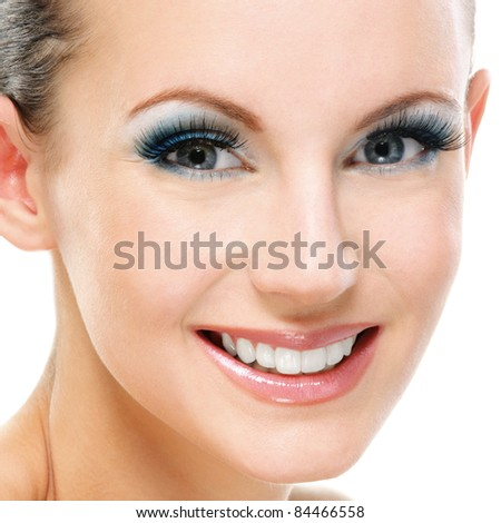 Portrait young beautiful smiling woman close up, isolated on white background. - stock photo