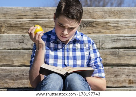 Portrait.Young boy reading a book in wooden stairs, summer - stock photo