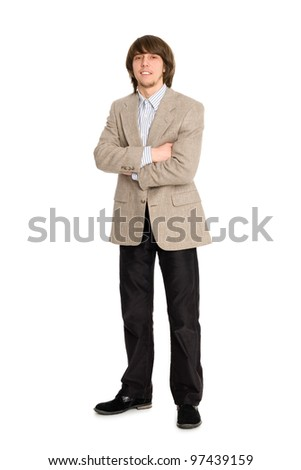 Portrait young business man with hands folded on white - stock photo
